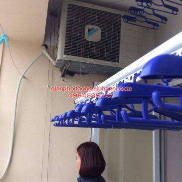 Ban công đẹp gọn hơn nhờ lắp đặt giàn phơi nhập khẩu Thái Lan nhà chị Thương, KĐT Sài Đồng