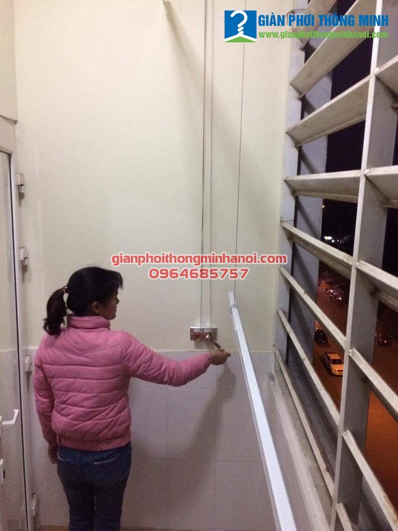 Lắp giàn phơi thông minh Ba Sao cho nhà chị Tuyết chung cư CT5 Đặng Xá, Gia Lâm, Hà Nội