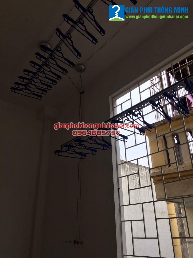 Lắp giàn phơi nhập khẩu tự động cho nhà chị Thu ngõ 18 Định Công Thượng