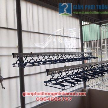 Lắp bộ giàn phơi nhập khẩu cao cấp tại sân phơi mái tôn nhà chị Hân, số 18 Ngõ Gốc Đề