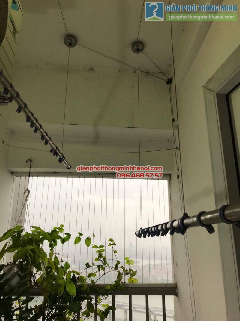 Sửa giàn phơi thông minh Hoàng Mai nhà chú Chiến, chung cư VP3, bán đảo Linh Đàm - 02