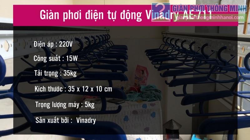 Thông số kỹ thuật của giàn phơi điện tự động Vinadry