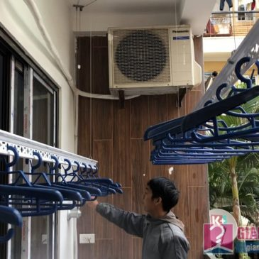 Lắp giàn phơi Long Biên: bộ đôi giàn phơi 950 nhà chị Bích, chung cư H8, KĐT Việt Hưng
