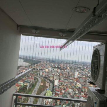 Lắp giàn phơi Hòa Phát 999b nhà chú Khôi, chung cư Mipec Riverside Long Biên, Hà Nội