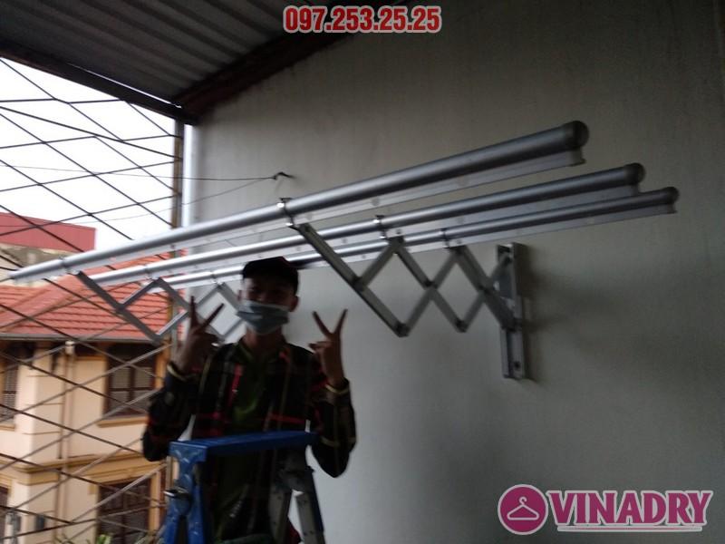 Lắp giàn phơi thông minh kéo ngang nhà chị Khanh, số 17, ngách 162/4 Đông Thiên, Hoàng Mai - 05