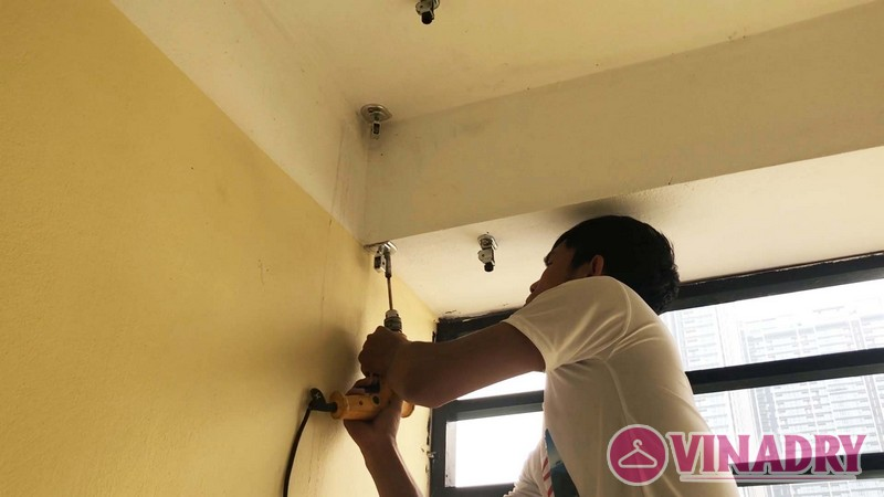 Lắp giàn phơi thông minh chung cư số 3 Vạn Phúc nhà cô Hoa bộ HP701- 04